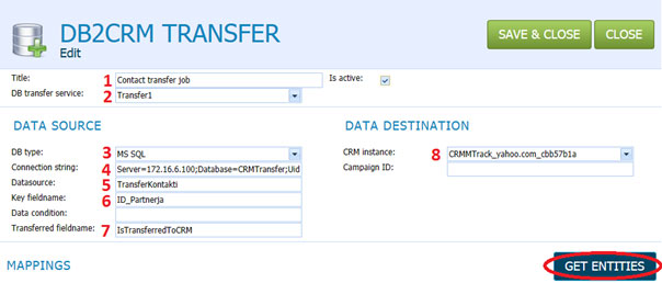 Microsoft CRM integration - DB2CRM Transfer