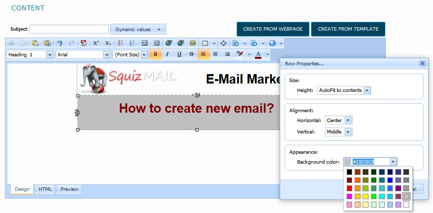 how to create email page